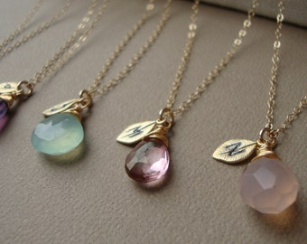 Personalized Bridesmaid Gift Initial necklace Bridesmaid necklace  Bridesmaid jewelry  SET OF FIVE  Wedding jewelry  Gold necklace