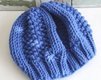 Hand Knit Hat Slouchy Beanie Chunky Periwinkle Knit Hat Handmade by avintageobsession on etsy...FREE USA Shipping