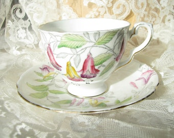 Vintage Royal Stafford tea cup and saucer Fuchsia cup Vintage Bone China cup saucer Royal Stafford floral