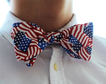 American Flag Self Tie Bowtie