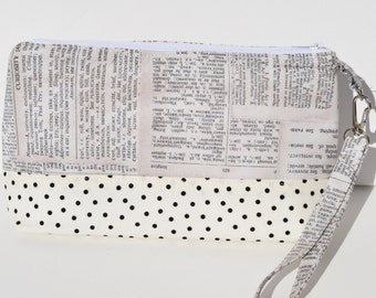 Handmade Wristlet with Removable Strap - Dictionary Print with Off-white and Black Polka Dot Contrast Zippered Closure