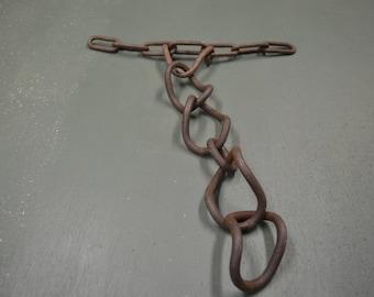 Rusted Chain Links, Vintage Garden Art, Industrial Metal Steampunk, #350