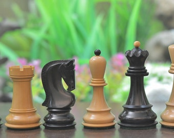 "Exclusive Russian Zagreb Dyed Chess Pieces in Stained Box Wood - 3.9"" King. SKU: S1235"