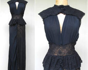 Vintage 1940s Negligee / 40s Black Rayon and Lace Bias Cut Femme Fatale Hollywood Glamour Nightgown / 36 Bust