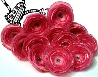 12 Handmade light pink fabric flowers