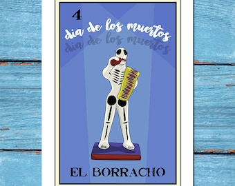El Borracho-Loteria 13x19 Art Print,loteria art,loteria print,home decor,fine art,giclee,digital print,dia de los muertos,day of the dead