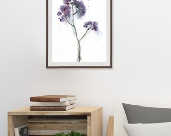 Purple Flowers, Botanical Watercolor Print, Minimalist Floral Artwork, Purple Floral Bed Room Wall Art, Purple Gray Wall Decor, Gift for Mom