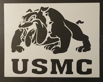 USMC Marine Corp Bulldog Marines Custom Stencil Fast FREE SHIPPING