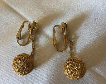 Ball drop clip on earrings