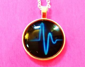 Hidden P Wave ECG EKG Nurse Doctor Medic Glass Pendant Necklace