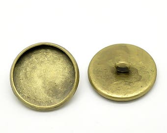 30 button Fasssungen for 14 mm cabochons, brass