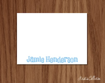 Personalized Flat Note Card Set - Kids Boys Custom Notecards - Personal Stationery Stationary Gifts with Name for Boys Girls Kids