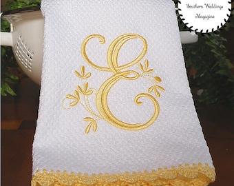 Yellow Monogrammed Kitchen Towel, Yellow Kitchen Decor