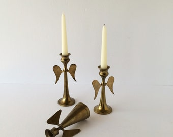 Vintage Solid Brass Candleholders, Mix and Match Angel Candle Holder Trio, Brass Angel Candlesticks, Christmas Angel Candlesticks