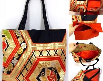 Japanese Kimono Obi  Bag with a bag organizer insert clutch bag Upcycled From Vintage Japanese Obi. Handmade bag,Japanese Bag,Silk bag,Mum