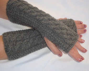 Fingerless gloves Mittens.Knit Wool Cabled Wrist Arm Warmers.Gray.Soft.Long Wristers.Driving Mitts.Gray.