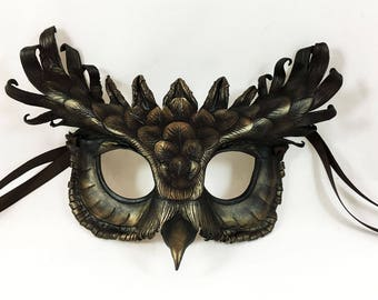 Bronze Owl Leather Mask