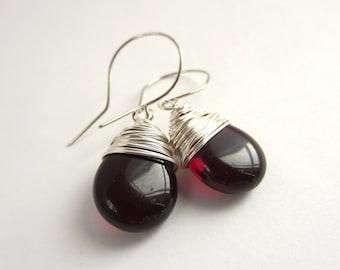 Garnet Earrings January Birthstone Earrings Wire Wrapped Earrings Red Dangle Earrings Wire Wrapped Jewelry Handmade