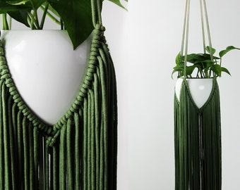 GREEN Macrame, Macrame Plant Hanger, Green Macrame Wall Hanging, Plant Hanger, Macrame Plant Holder, Plant Holder, Dip Dyed Macrame
