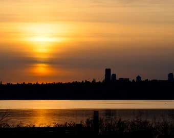 Travel Photography-Golden Sunset-Washington, Landscape, Urban, Metropolitan, Cityscape, Seattle, Nature, Lake, City, Fine Art Photography