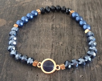 Pearls bracelet Blue/rose gold