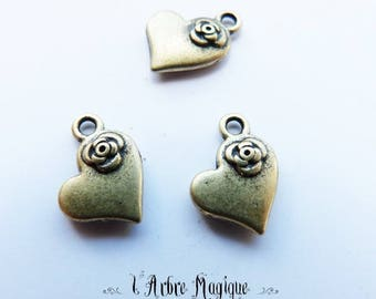 Charm heart and rose bronze x 4