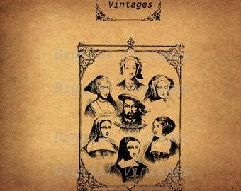 Henry VIII and Wives Classic Illustration Vintage Antique Digital Image Download Printable Graphic Clip Art Prints HQ 300dpi