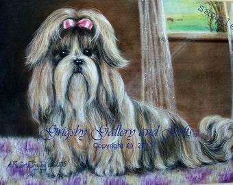 """SAMPLE Fine Art, Soft Pastel, """"SUZETTE"""" 14 x 18  Commission your Pet Portrait today"""