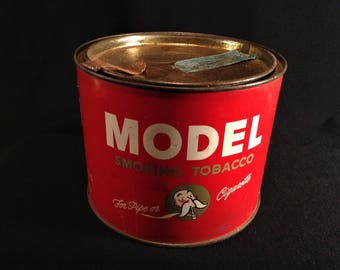 Vintage Tobacco Tin, MODEL Tobacco, Vintage Tin, 1950s, Old Tin Can, Collectible Tins, Red and White Tin, Tobacco Can, Tobacciana