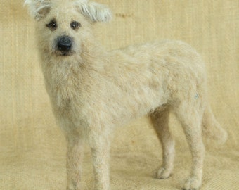 Made to Order Needle Felted Dog (long-haired): Custom needle felted animal sculpture