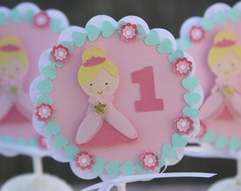 princess cupcake toppers, first birthday, princess party picks, princess party decorations, first birthday party, princess party decor