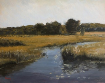 Landscape oil painting from life, alla prima - Tributary 5