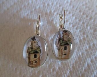Primitive Bird House Earrings