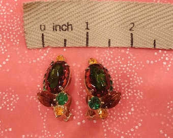 Vintage Juliana (DeLizza & Elster) Green and Yellow Earrings