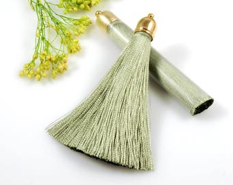 Silk Tassel, Olive Green Tassel, Long Silk Tassel, 75mm Long, Tassels for Jewelry Making, Tassel Earrings, tassel Necklaces/ 2PCS