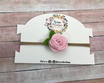 Small light pink felt flower Headband
