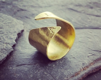 Wide Gold Initial Ring - Open Cuff Ring // Personalized Initial Ring // Gift under 75