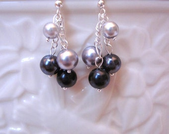 Shades of Gray Pearl Dangle Earrings