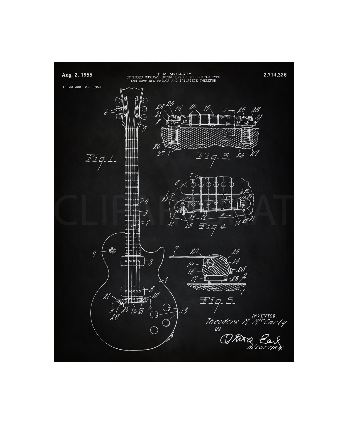 1955 Gibson Les Paul Printable Art Print Instant Download
