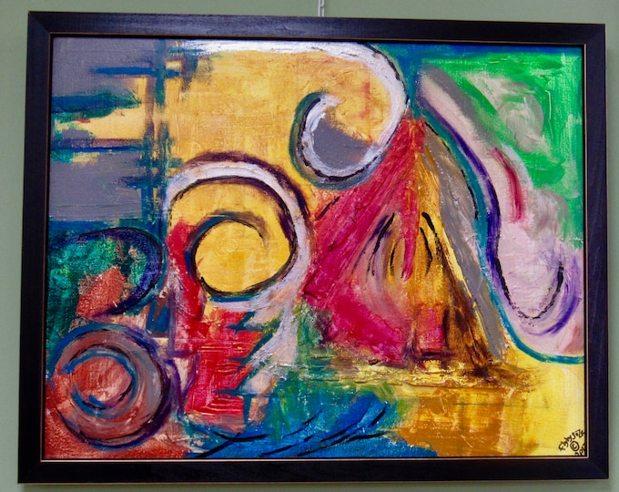 """Framed Abstract Painting """"Release"""""""