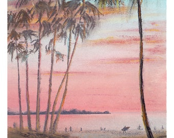 ORIGINAL pastel drawing / landscape painting, sea, nature art, blue landscape, California
