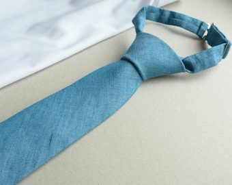 Blue Dad Son neckties - Cerulean Blue Linen Neckties - Family photo outfit - Gift for Husband and Son