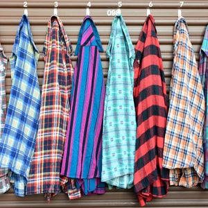 Buy-Two-Get-One-Free Unisex Large VTG Flannel Oversized Shirts - Westernwear Plaid Button-Up Worn Distressed Flannels - 70s, 80s, 90s Large