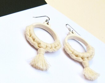 Creole ecru, hoop earrings wood macramé, textile jewelry, small white hoops off, gift for her, nayquach