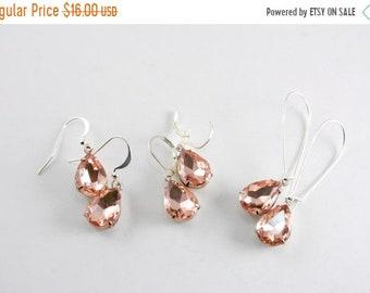 20%OFF SALE Vintage Pink Rhinestone in Silver Earrings, Rosaline Rhinestone Drops, Dusty Rose Dangle Earrings, Choose a Style