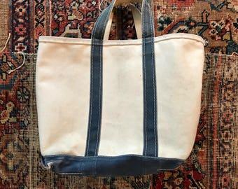 Vintage blue llbean tote bag / canvas llbean tote bag / made in usa