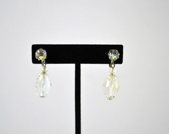 Vintage Clear Iridescent Dangle Twist On Earrings, Prism Cylinder Crystals, Wedding Earrings