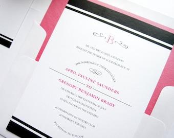 Pink and Black Wedding Invitation, Monogram Wedding Invitation, Pink & Black Wedding Invitation, Modern Wedding Invite - Deposit