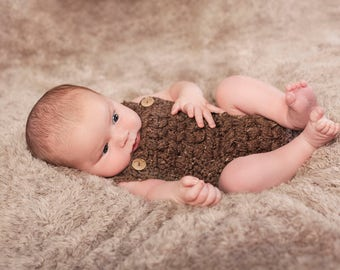 Puff Stitch Romper pdf PATTERN, newborn to 12 months, photo prop, baby girl boy onsie crochet
