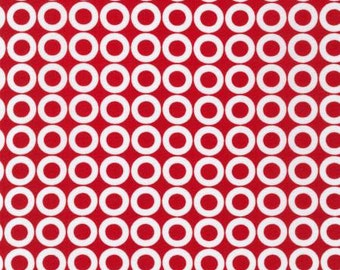 SALE - Robert Kaufman - Spot On - Red Rings - Cotton fabric by the yard(s)